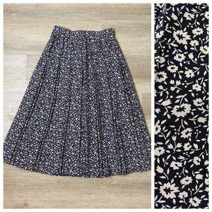 Vintage St. Michael Floral Pleated Midi Skirt